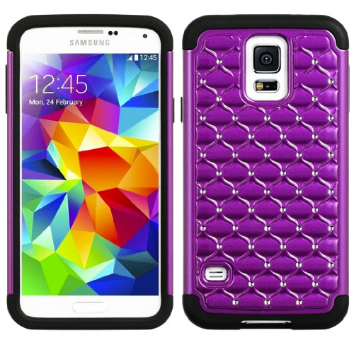 Mylife Black And Purple - Diamond Shell Series (2 Layer Neo Hybrid) Slim Armor Case For The New Galaxy S5 (5G) Smartphone By Samsung (External Rubberized Hard Shell Flex Piece + Internal Soft Silicone Flexible Bumper Gel) front-337783