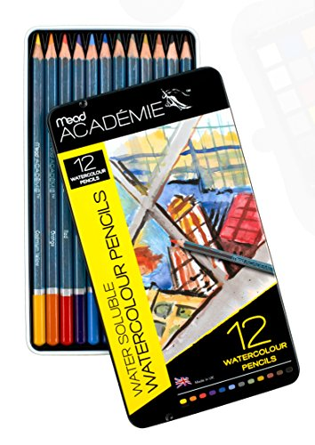 Mead Academie Watersoluble Watercolor Pencils, 12 Per Tin, Assorted (98022)