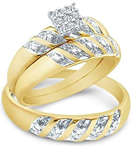 Size - 8.5 - 14k Yellow and White 2 Two Tone Gold Mens and Ladies Couple His & Hers Trio 3 Three Ring Bridal Matching Engagement Wedding Ring Band Set - Round Diamonds - Princess Shape Center Setting (.09 cttw)
