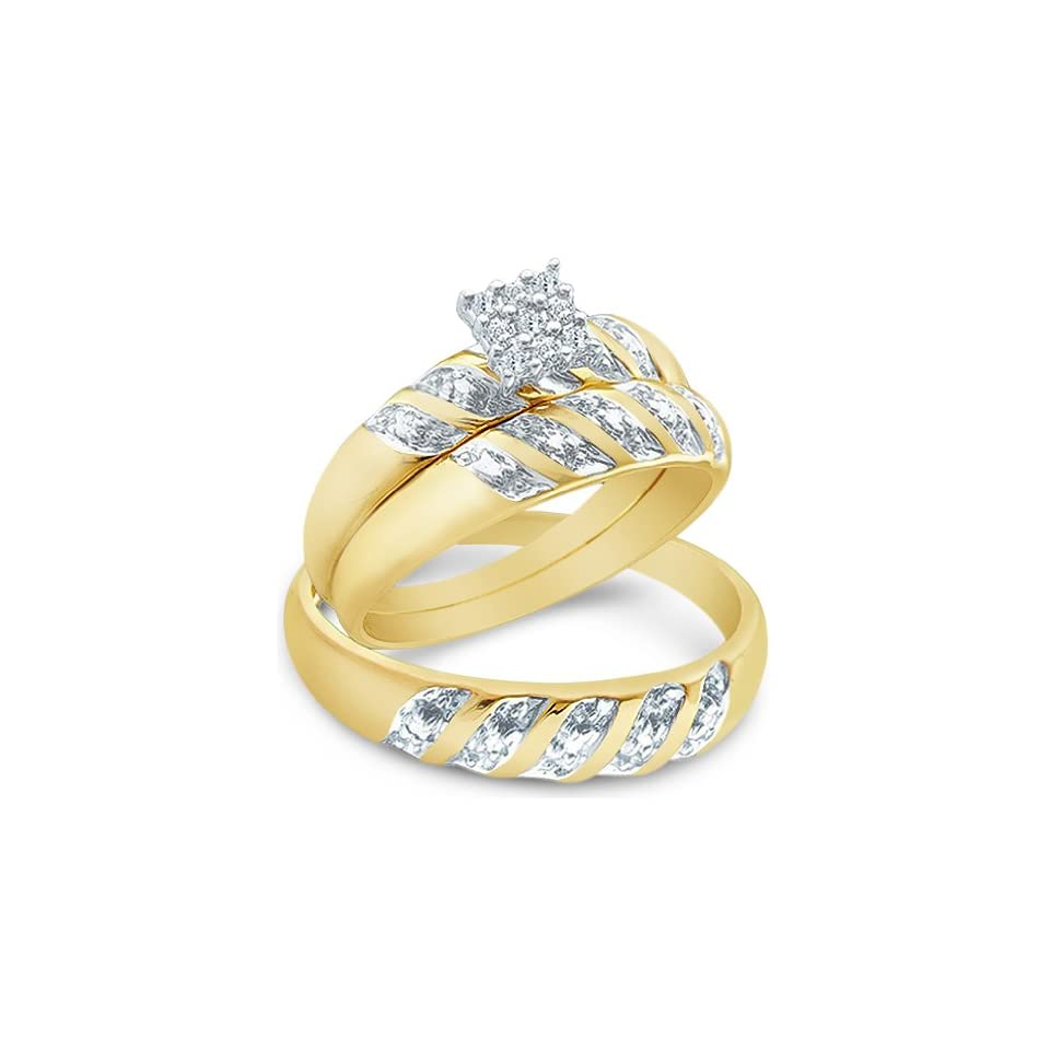 14k Yellow and White 2 Two Tone Gold Mens and Ladies Couple His & Hers Trio 3 Three Ring Bridal Matching Engagement Wedding Ring Band Set   Round Diamonds   Princess Shape Center Setting (.09 cttw) Jewelry