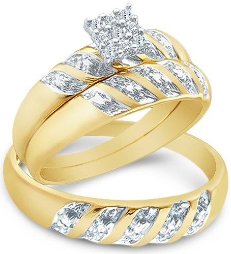 Sale Size - 11 - 14k Yellow and White 2 Two Tone Gold Mens and Ladies Couple His & Hers Trio 3 Three Ring Bridal Matching Engagement Wedding Ring Band Set - Round Diamonds - Princess Shape Center Setting (.09 cttw)