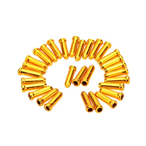 30Pcs Aluminum Alloy MTB Bicycle Brake Derailleur Shifter Cable End Caps Lightweight Bike Cable Tips (Gold) (Derailleur Cable Cutter compare prices)