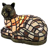 Brown and White Stained Glass Relaxing Cat Accent Lamp