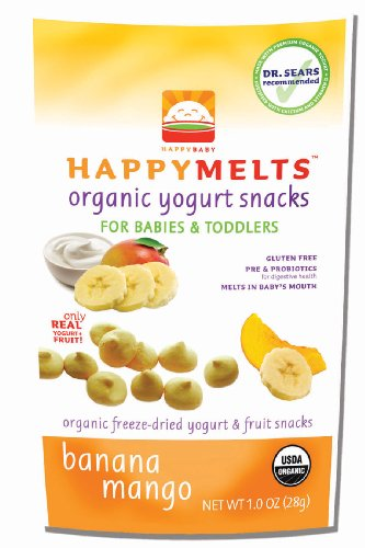 HAPPYMETLS Organic Yogurt Snacks for Babies & Toddlers, Banana Mango, 1-Ounce Pouch (Pack of 8)
