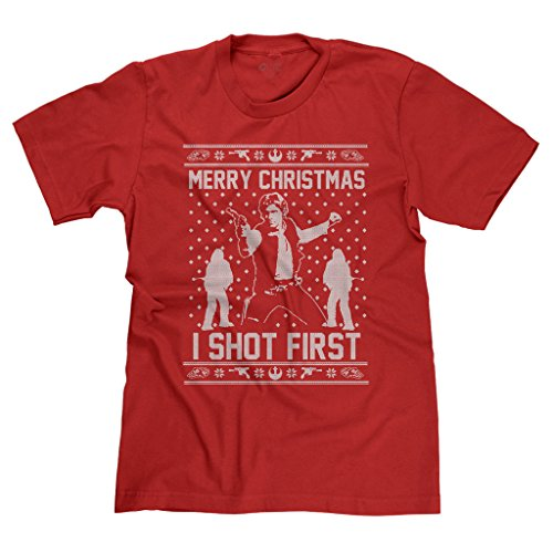 FreshRags Hans Solo Star Wars Ugly Christmas Sweater Parody Men's T-shirt LG Red