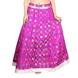 Aura Life Style Georgette Brocade Women's Long Skirt / Lehenga (ALSK4036D,Free Size,Pink)