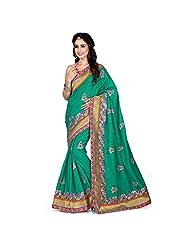 EthnicCrush Green Manipuri Silk & Dupian Saree - B011Y7BAO2