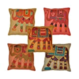 Indian Handmade Traditional Elephant Cotton Cushion Cover, 16 X 16 Inches, Set Of 5 Pcs