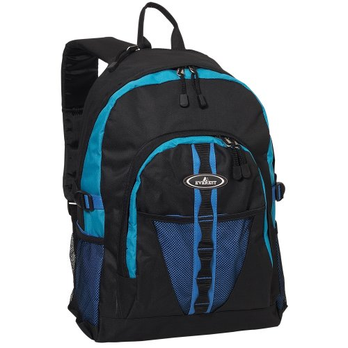 Everest Luggage Backpack with Dual Mesh Pocket Royal Blue Blue Black Royal Blue Blue Black One Size