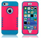 myLife Hot Pink + Sky Blue Shield 3 Layer (Hybrid Flex Gel) Grip Case for New Apple iPhone 5C Touch Phone (External 2 Piece Full Body Defender Armor Rubberized Shell + Internal Gel Fit Silicone Flex Protector)