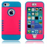 myLife Hot Pink + Sky Blue Shield 3 Layer (Hybrid Flex Gel) Grip Case for New Apple iPhone 5C Touch Phone (External... by myLife Brand Products