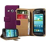 Membrane - Lila Brieftasche Tasche Hülle Samsung Galaxy Xcover 2 II (GT-S7710 / S7710L) - Flip Case Cover + 2 Displayschutzfolie
