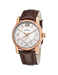 Grovana Men's 1721.1562 Retrograde Day Retrograde Brown Leather Strap Quartz Watch