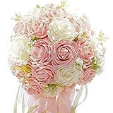 F-grip ウェディング ブーケ アートフラワー バラ プレゼント (ホワイト・ピンク)