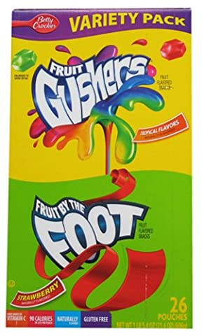 Fruit By the Foot (Strawberry) and Fruit Gushers (Tropical) Variety Pack, 26 Pouches