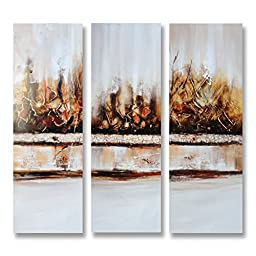 Neron Art - Handpainted Abstract Oil Painting on Gallery Wrapped Canvas Group of 3 pieces - Tehran 36X36 inch (91X91 cm)