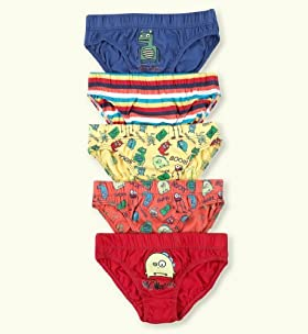 5 Pack - Younger Boys' Pure Cotton Assorted Slips