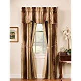 Window Accents 5-Piece Tuscan Scroll Stripe Jacquard Rod Pocket Set, 56 by 63-Inch, Autumn