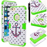 iPhone 6s Plus / iPhone 6 Plus Case, iPhone 6s Plus / iPhone 6 Plus defender Case, E LV iPhone 6s Plus / iPhone 6 Plus Case Cover - Dual Layer Hybrid Armor Defender Protective Case Cover for Apple iPhone 6s Plus / iPhone 6 Plus (5.5 Inch) - POLKA DOT WHITE / GREEN