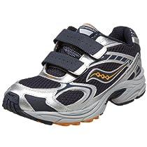 Saucony Cohesion H&L Running Shoe (Little Kid/Big Kid),Navy/Silver/Orange,1.5 M US Little Kid
