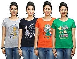 Flexicute Women's Printed Round Neck T-Shirt Combo Pack (Pack of 4)- Navy Blue, Grey Milange, Pakistan Green & Orange Color. Sizes : S-32, M-34, L-36, XL-38