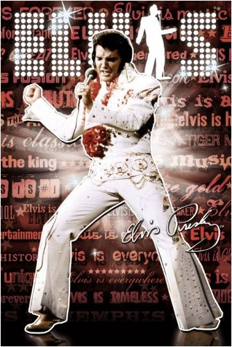 Elvis Presley - Personality / Music Poster (Dancing In White Bling Suit) (Size: 24