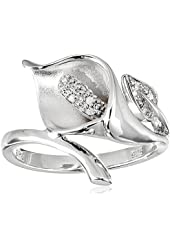 Sterling Silver Calla Lily Diamond Ring (0.05 cttw, I-J Color, I2-I3 Clarity)