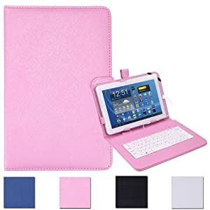 """HDE Universal 10"""" Tablet Folding Leather Folio Case Cover Stand w/ Keyboard (Pink)"""