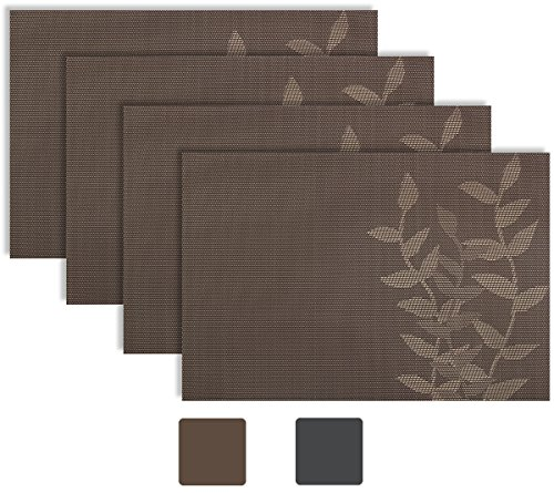 Secret-Life-Placemat-Reversible-Silver-Gray-Chocoolate-Brown-Coral-Orange-Color-Leaf-Theme-Woven-Vinyl-Placemats-Set