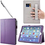 i-BLASON Apple iPad Air / iPad 5 Auto Wake / Sleep Smart Cover Leather Case (Elastic Hand Strap, Multi-Angle, Card Holder) With Bonus Stylus (Multi-Color to Choose From) 3 Year Warranty (Purple)