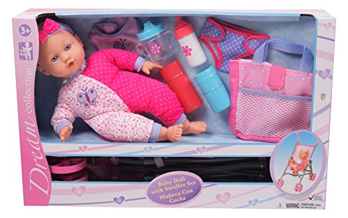 "Gi-Go 14"" Baby Doll with Stroller Set"