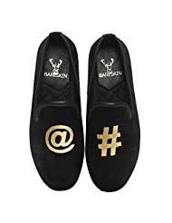 Bareskin At The Rate/Hashtag Special Mens Handmade Black Velvet Slipon With Embroidery - Limited Edition(Made...