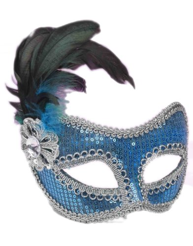 Blue Sequin Masquerade Adult Mask
