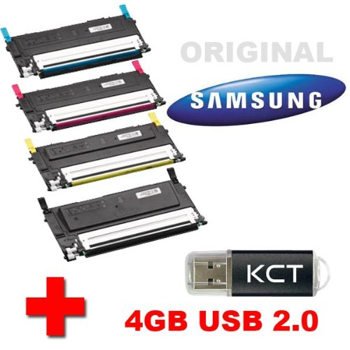 Samsung CLP 315 W Original Tonerkit CLT-P4092C (CLT-P4092C/ELS) + 4GB KCT USB-Stick USB 2.0