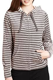 Cotton Rich Zip Through Hooded Velour Top [T51-1659-S]