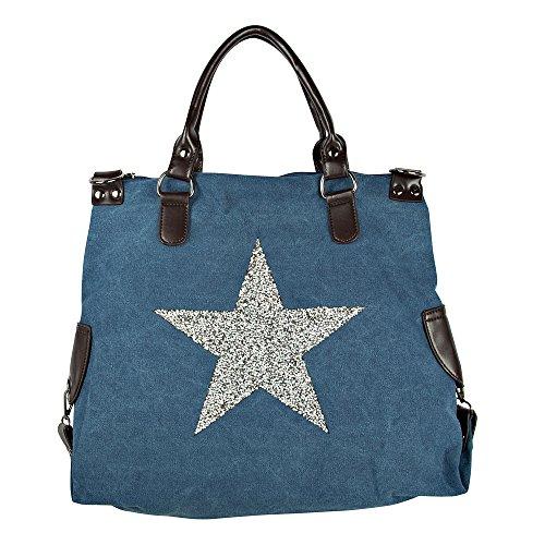 Borsa a tracolla borsa delle signore Stella Stella Jeans Beuteltasche Strass Applicazione Tela antico signore guardano con stelle, Colore:blau3