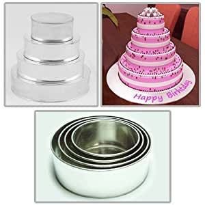 tins multi layer cake pans wedding cake pan round 5 tier cake tin set