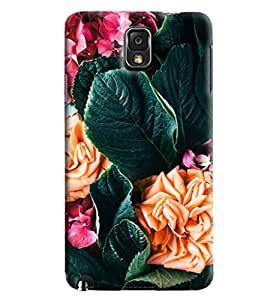 Blue Throat Flower And Leaves Printed Designer Back Cover/Case For Samsung Galaxy Note 3