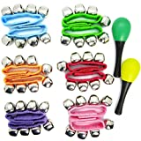 Kilofly Musical Toys Rhythm Band Wrist Bells Value Pack, 6 Colors [Set Of 12 + 2 Maracas]