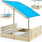 Bac à sable 120x120 avec pare-soleil et bancs intégrés jeux enfants