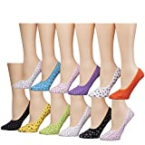 Tipi Toe Women's 12 Pack Colorful Patterned Cotton Foot Liners, PED16-WHT, 9-11