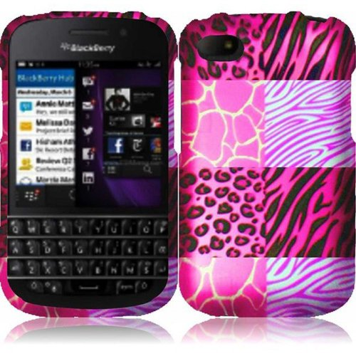 Cell Accessories For Less (Tm) For Blackberry Q10 Rubberized Design Cover Case - Pink Exotic Skins - By Thetargetbuys