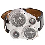 German Army Dual Time Zones Quartz Wrist Watch Black