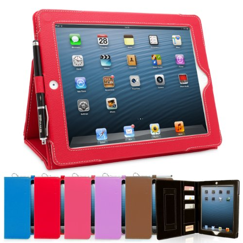 Snugg iPad 4 & iPad 3 Executive Leather Case in Red - Flip Stand Cover with Card Slots, Pocket, Elastic Hand Strap and Premium Nubuck Fibre Interior - Automatically Wakes and Puts the Apple iPad 4 & 3