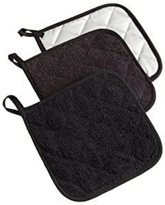DII 100% Cotton, Machine Washable, Everyday Kitchen Basic  Terry Potholder Set of 3, Black