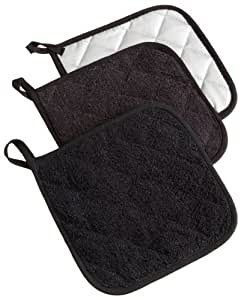 DII 100% Cotton, Machine Washable, Quilted Everyday Heat Resistant Kitchen Basic Terry Potholder Set of 3, Black