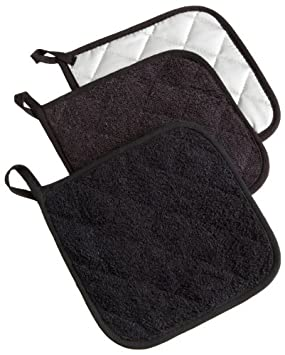 DII 100% Cotton, Machine Washable, Everday Kitchen Basic  Terry Potholder Set of 3, Black