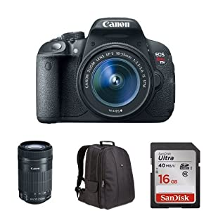 Canon EOS Rebel T5i with 18-55mm and 55-250mm STM Lens + Free Accessories