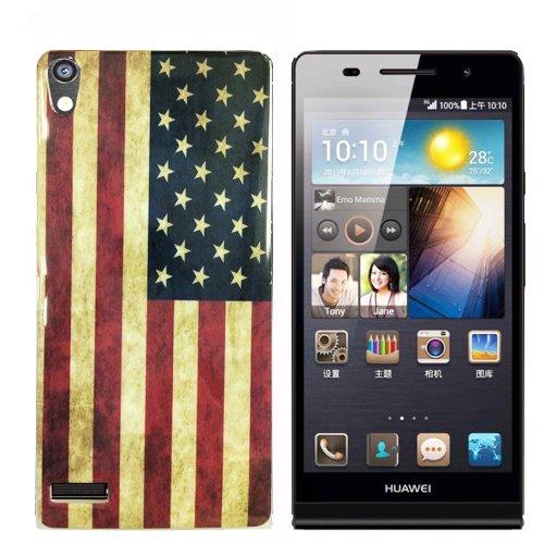 gada-Custodia per Huawei Ascend P6in silicone cover in TPU motivo: bandiera USA in stile retrò