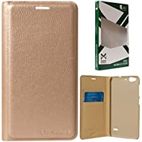 DMG Dotted Finish Premium PU Leather Flip Cover Case For Reliance LYF Water 2 (Gold)